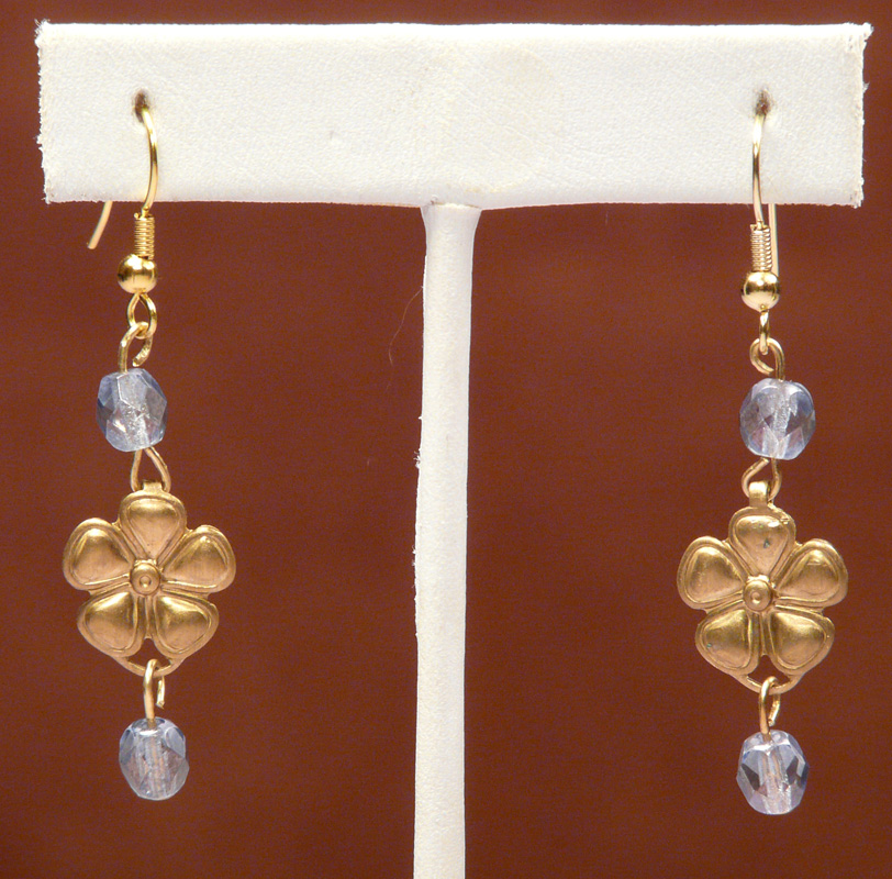 Flower Earrings with Smoke Blue