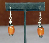 Silver Earrings with Orange Polished Stone