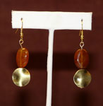 Dark orange stone with bronze earrings