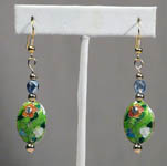 Cloisonne Earrings with Gold and Blue