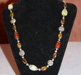 Silver Bali Necklace with polished stones